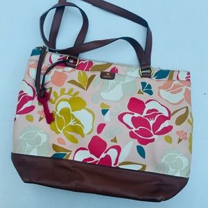 Fossil floral tote- large